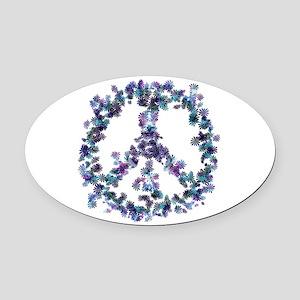 Harmony Flower Peace Oval Car Magnet
