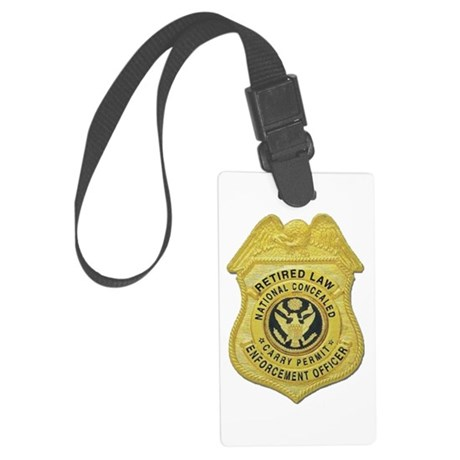 retired law enf officer Large Luggage Tag