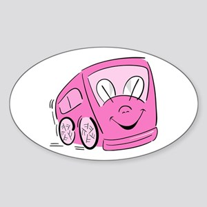 PINK HAPPY BUS Oval Sticker