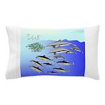 Tuna Birds Dolphins attack sardines Pillow Case