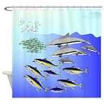 Tuna Birds Dolphins attack sardines Shower Curtain