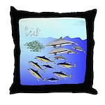 Tuna Birds Dolphins attack sardines Throw Pillow