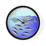 Tuna Birds Dolphins attack sardines Wall Clock