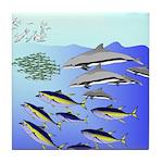 Tuna Birds Dolphins attack sardines Tile Coaster