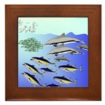 Tuna Birds Dolphins attack sardines Framed Tile
