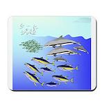 Tuna Birds Dolphins attack sardines Mousepad