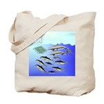 Tuna Birds Dolphins attack sardines Tote Bag