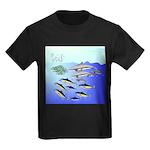 Tuna Birds Dolphins attack sardines Kids Dark T-Sh