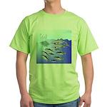 Tuna Birds Dolphins attack sardines Green T-Shirt