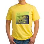 Tuna Birds Dolphins attack sardines Yellow T-Shirt