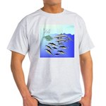 Tuna Birds Dolphins attack sardines Light T-Shirt