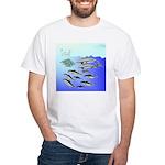 Tuna Birds Dolphins attack sardines White T-Shirt