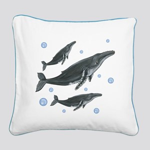 Humpback Whales Square Canvas Pillow