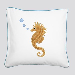 Seahorse Square Canvas Pillow