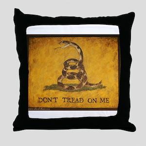 www.aliesfolkart.com Gadsden Flag Throw Pillow