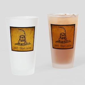 www.aliesfolkart.com Gadsden Flag Drinking Glass