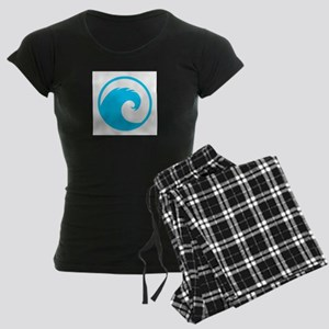 Ocean Wave Design Women's Dark Pajamas