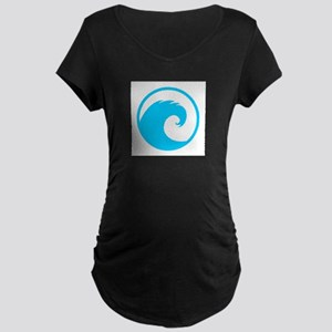 Ocean Wave Design Maternity Dark T-Shirt