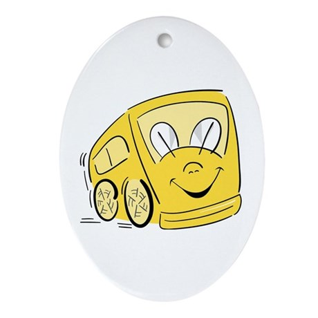 YELLOW HAPPY BUS Oval Ornament