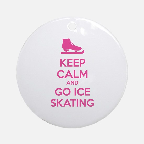Keep calm and go ice skating Ornament (Round)