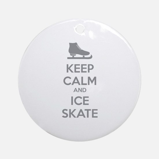 Keep calm and ice skate Ornament (Round)