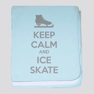 Keep calm and ice skate baby blanket