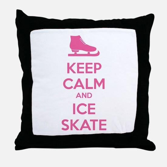 Keep calm and ice skate Throw Pillow