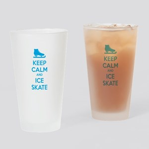 Keep calm and ice skate Drinking Glass