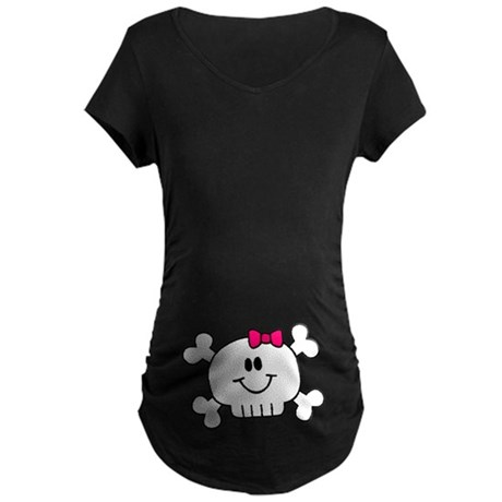 Smiling Skull Pink Maternity Dark T-Shirt