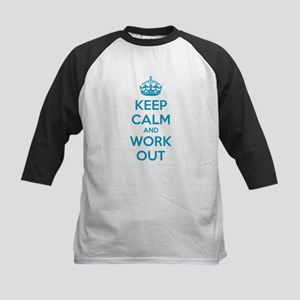 Keep calm and work out Kids Baseball Jersey