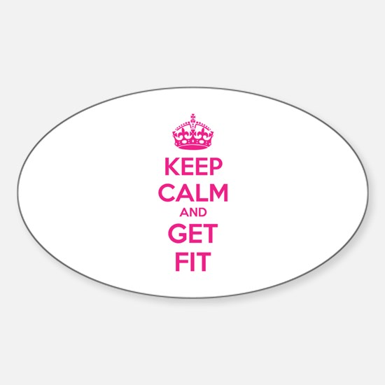 Keep calm and get fit Sticker (Oval)