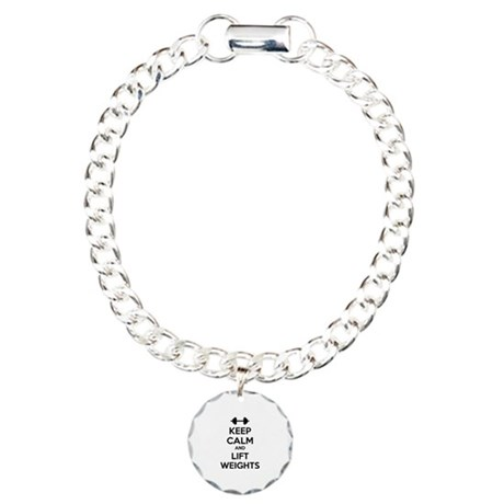 Keep calm and lift weights Charm Bracelet, One Cha