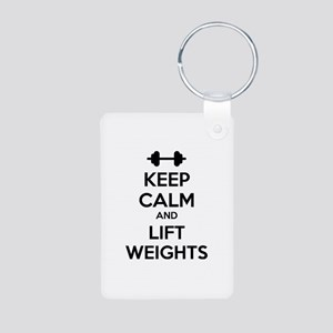 Keep calm and lift weights Aluminum Photo Keychain
