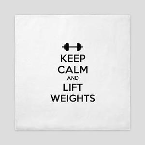 Keep calm and lift weights Queen Duvet