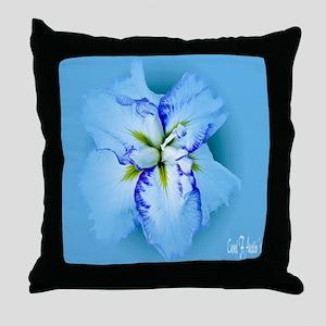 Iris in Blue Mist Throw Pillow