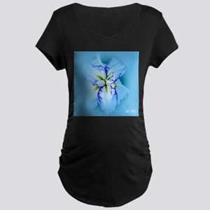 Iris in Blue Mist Maternity Dark T-Shirt