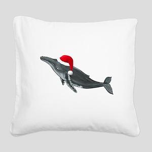 Santa - Whale Square Canvas Pillow
