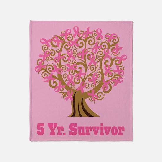 Breast Cancer 5 Year Survivor Gift Throw Blanket