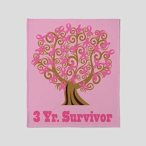 Breast Cancer 3 Year Survivor Gift Throw Blanket