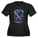 USS BADGER Women's Plus Size V-Neck Dark T-Shirt