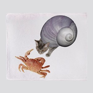 Shell Cat Crab Throw Blanket
