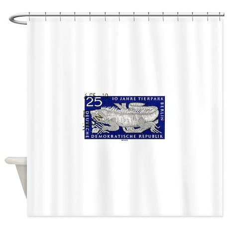 Iguana 1965 German Postage Stamp Shower Curtain