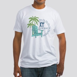 Chi Psi Palm Tree Personalized Fitted T-Shirt