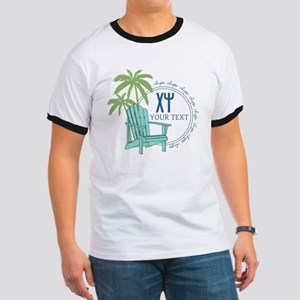 Chi Psi Palm Tree Personalized Ringer T