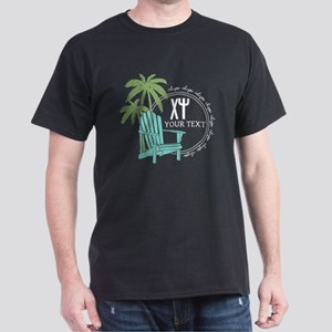 Chi Psi Palm Tree Personalized Dark T-Shirt