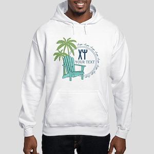Chi Psi Palm Tree Personalized Hooded Sweatshirt