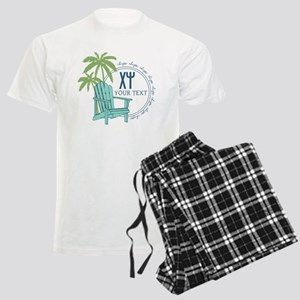 Chi Psi Palm Tree Personalize Men's Light Pajamas