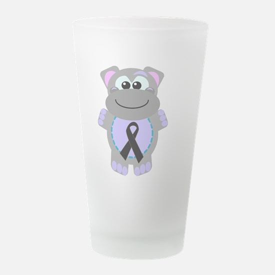 black ribbon hippo.png Frosted Drinking Glass