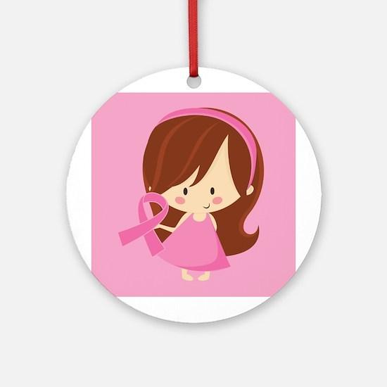 Breast Cancer Pink Ribbon Tree Gift Ornament (Roun