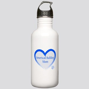 American Bulldog Mom Blue Heart Stainless Water Bo